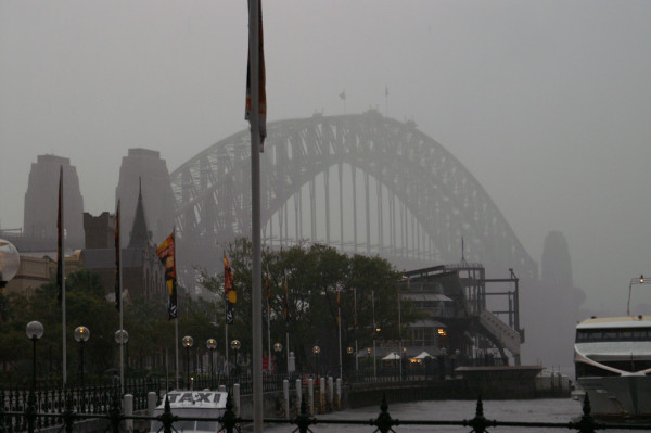The Sydney Harbour Bridge, pictured here while very wet